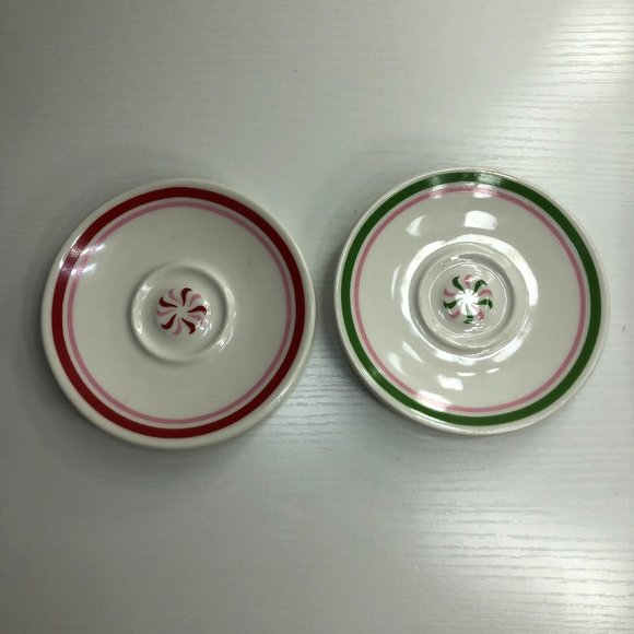 2007 Starbucks Peppermint Candy Expresso Saucers
